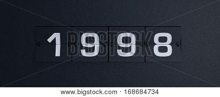 3d rendering flip board year 1998 background