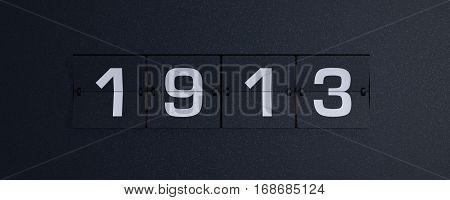 3d rendering flip board year 1913 background