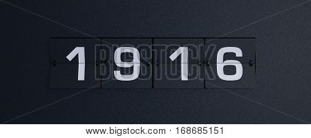 3d rendering flip board year 1916 background