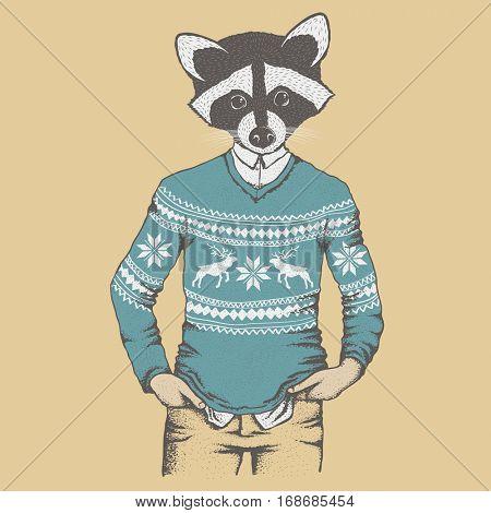 Raccoon vector illustration concept. Raccoon in human sweater, sweatshirt