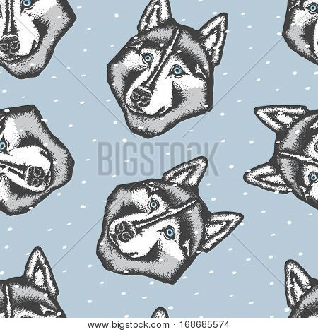 Vector dog concept. Hand draw Siberian husky dog vector illustration seamless pattern