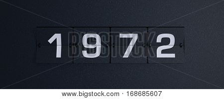 3d rendering flip board year 1972 background