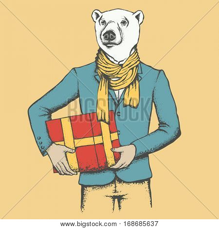 White polar bear vector illustration concept. Bear in human suit with gift