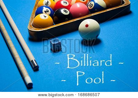 Playing Billiard. Billiards Balls And Cue On Billiards Table. Billiard Sport Concept. Pool Billiard