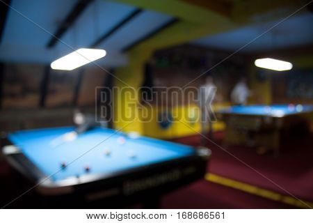 Defocused Background Of Billiard Playroom - Blurred Composition Of Pool Game Saloon With Dominant Mu