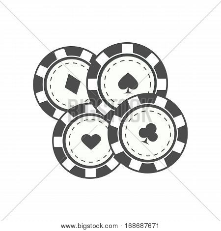 Gambling chips vector in monochrome, black color. Four casino chips with card suits. Illustration for gambling industry, sport lottery services, icons, web pages, logo design. Isolated on white