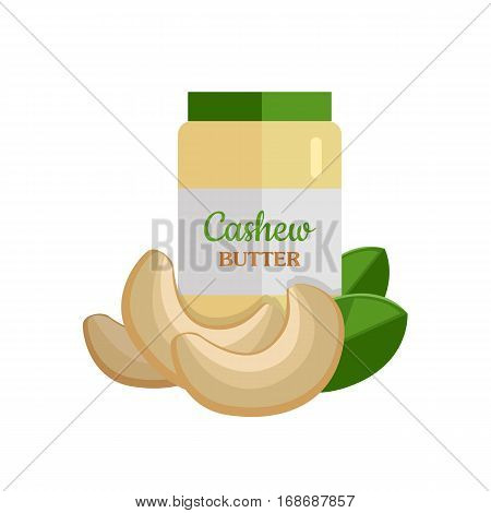Cashew butter and nuts vector. Flat design. Healthy food, diet and cosmetic products. Seasoning. Culinary ingredient,  source of protein, vitamins, fatty acids. Isolated on white background.