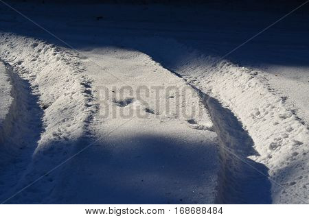 tire tracks in the snow Czech Republic