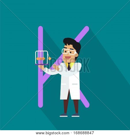 Science alphabet. Letter - K. Scientists in white coat with Newton s cradle. Simple colored letters and scientist character. Scientific research, science lab, science test, technology illustration. Flat design