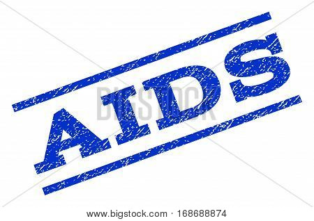 AIDS watermark stamp. Text caption between parallel lines with grunge design style. Rotated rubber seal stamp with scratched texture. Vector blue ink imprint on a white background.