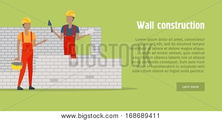 Brick wall construction. Two men in helmet and red robe building white brick wall. One holding bucket with cement, another with special tool and brick in hand. Flat design. Vector illustration