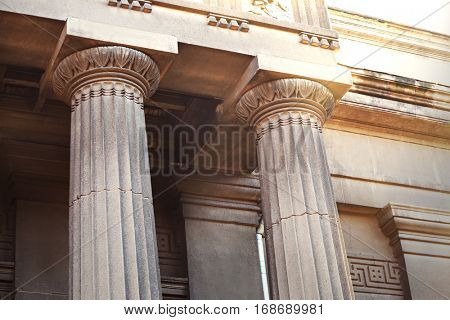 Closeup of building with columns in neoclassical style