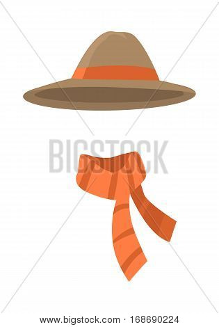 Hat. Longedged brown hat with long orange stripe. Orange scarf with brown lines twisted on the right . White background. Set of icons of winter unisex clothing. Flat design. Vector illustration