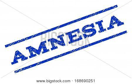 Amnesia watermark stamp. Text caption between parallel lines with grunge design style. Rotated rubber seal stamp with dust texture. Vector blue ink imprint on a white background.