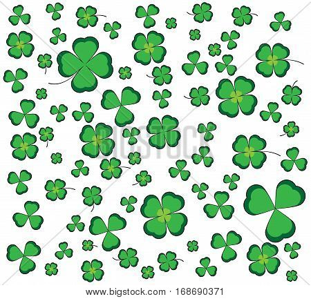 White background with shamrocks and leaf clovers