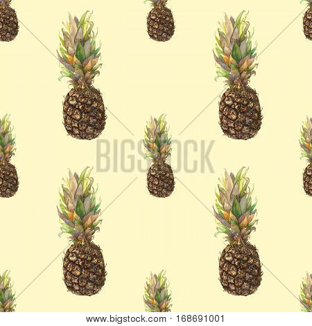 Pineapple ananas with colorful leaves on yellow background. Seamless watercolor pattern. Could be used for textile or in design