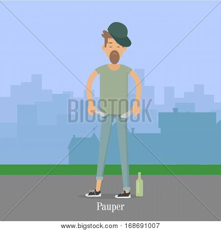 Pauper man with empty pockets in city park. Bottle of vodka whisky near by. Vector illustration in flat style