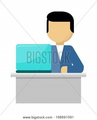 Man works with laptop and analyzes website in flat design style. Developing solution, software development or construction. Search of innovations. Office worker with notebook. Vector illustration