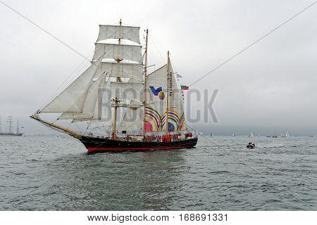 VARNA, BULGARIA - MAY 03, 2014: Historical seas Tall Ship Regatta 2014. The Bulgarian tall ship
