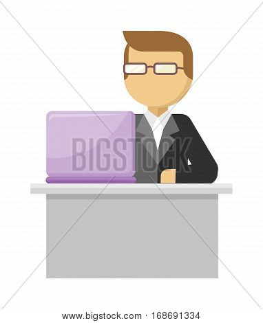Working person web banner. Man work with laptop and analyze website in flat design style. Developing solution, software development or construction. Search of innovations. Vector illustration