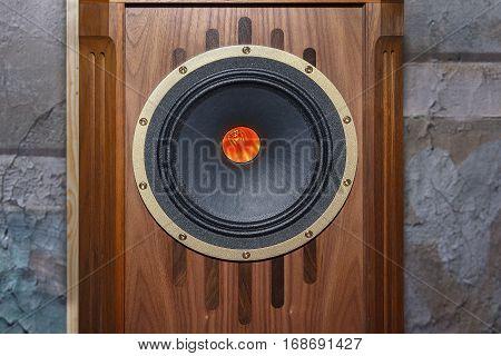 Acoustic speaker on the equipment in vindazhnom style close-up