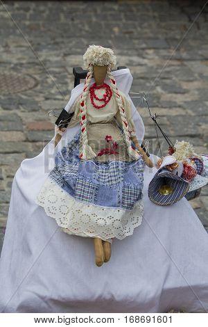 Ukrainian national folklore doll motanka as a souvenir