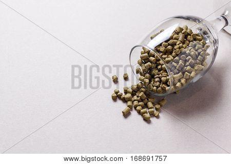 Hop Pellets In A Glass