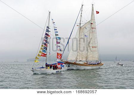 VARNA, BULGARIA - MAY 03, 2014: Historical seas Tall Ship Regatta 2014. The Turkish tall ship