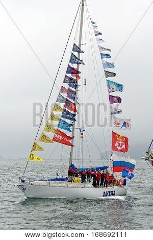VARNA, BULGARIA - MAY 03, 2014: Historical seas Tall Ship Regatta 2014. The Russian yacht