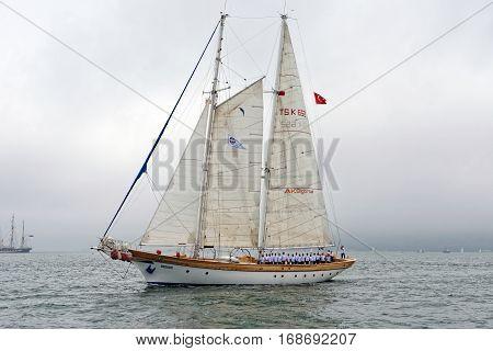 VARNA, BULGARIA - MAY 03,d 2014: Historical seas Tall Ship Regatta 2014. The Turkish tall ship
