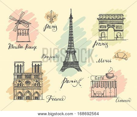 A set of sketches on the theme of Paris in retro style