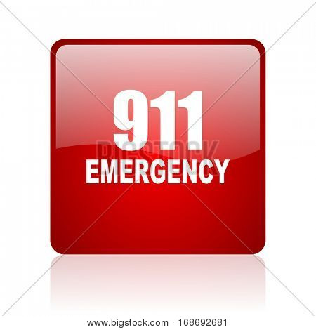 number emergency 911 red square web glossy icon