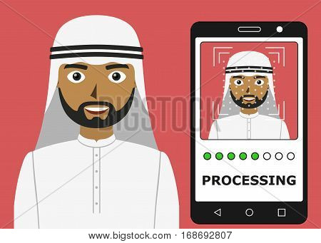 Biometrical identification. Facial recognition system concept. Mobile app for face recognition. Arab man. Vector illustration