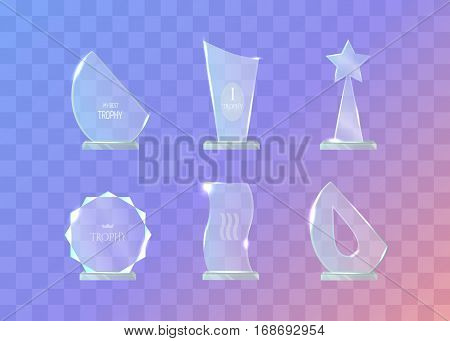 Trophy. Set of different in shape glass awards on transparent background. Round, waved, star, semi-oval glass award. Shiny. Glossy. Crystal. Real contemporary prizes. Flat design. Vector illustration