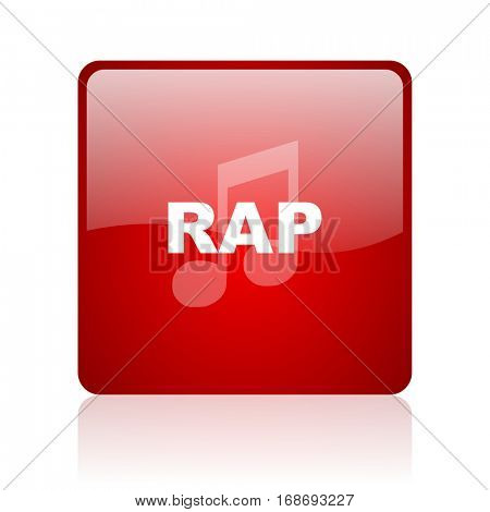 rap music red square web glossy icon