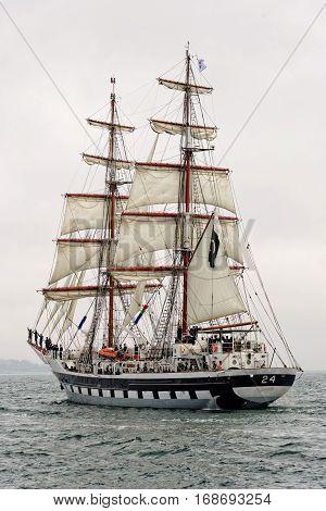 VARNA, BULGARIA - MAY 03, 2014: Historical seas Tall Ship Regatta 2014. The Pakistan tall ship