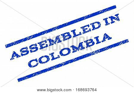 Assembled In Colombia watermark stamp. Text caption between parallel lines with grunge design style. Rotated rubber seal stamp with unclean texture. Vector blue ink imprint on a white background.