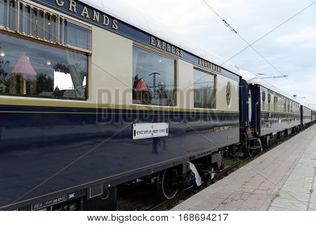 VARNA, BULGARIA - SEPTEMBER 3: The legendary 'Orient Express' arrives at station in Varna on September 3, 2013 in Varna Bulgaria. The luxury train travels between Paris and Istanbul.