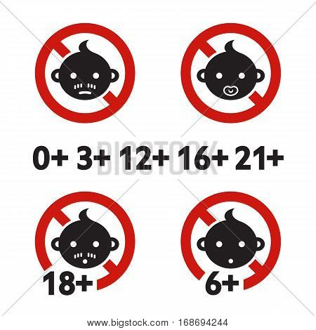 Vector illustration. Warning sign age limit. Adult only. Cartoon sticker. Decoration for posters, patches, prints for clothes, emblems
