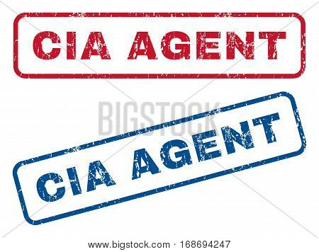 CIA Agent text rubber seal stamp watermarks. Vector style is blue and red ink tag inside rounded rectangular shape. Grunge design and unclean texture. Blue and red signs.