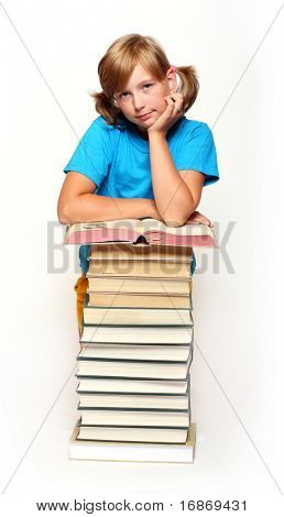Portrait of a pretty girl with opened book.