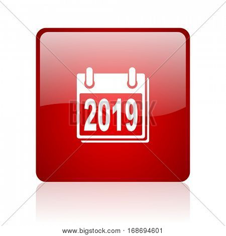 new year 2019 red square web glossy icon