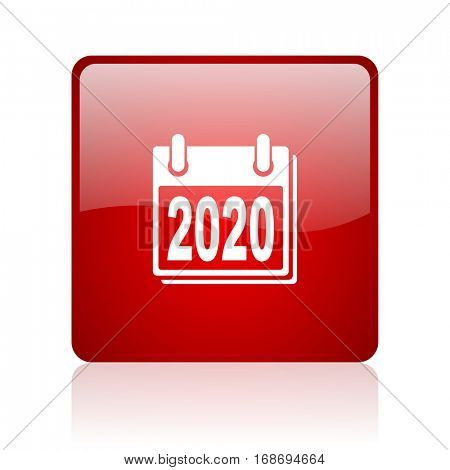 new year 2020 red square web glossy icon