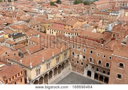 Panoramic view of Verona Italy with the Piazza dei Signori (Piazza Dante) on the bottom. Verona is one of the main tourist destinations in northern Italy.