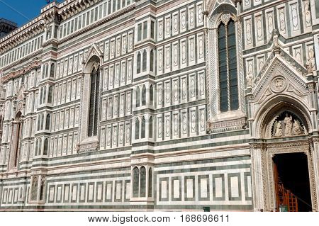 Detail of the facade of the Basilica di Santa Maria del Fiore in Firenze Italy. The Historic Center of Florence is in the UNESCO World Heritage List.