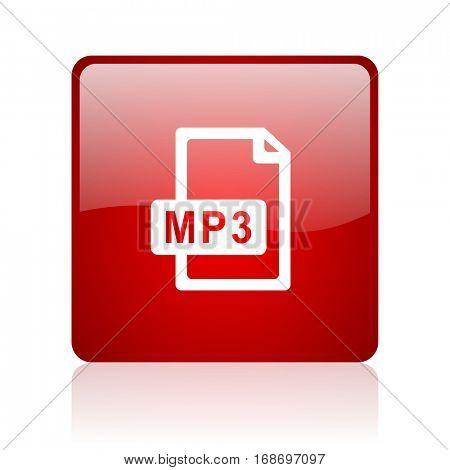 mp3 file red square web glossy icon.