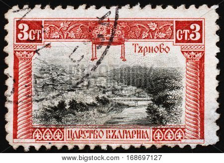 BULGARIA - CIRCA 1911: Postage stamp printed in Bulgaria dedicated to the town of Veliko Tarnovo - a historical capital of the Second Bulgarian Empire circa 1911.