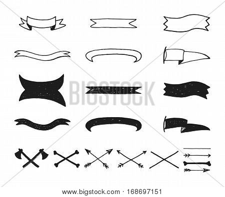 Set of vintage hand drawn vector design elements signs and symbols templates for your logotype emblems. Collection of simple doodles frames ribbons tapes isolated on white background.
