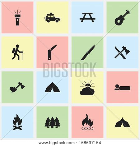 Set Of 16 Editable Camping Icons. Includes Symbols Such As Ax, Bedroll, Knife And More. Can Be Used For Web, Mobile, UI And Infographic Design.