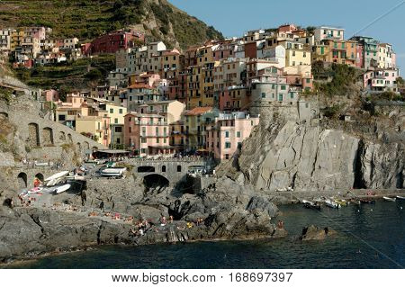Manarola the second smallest of the famous Cinque Terre towns in Italy all connected by rail. The water and mountainside have been declared national parks.